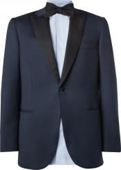 Suit Black Lapeled Blue & Black Peak Lapel