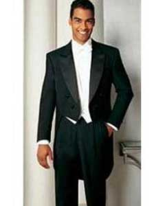Mens Formal Tails - Peak Tailcoat Black Tuxedo Jacket with the tail