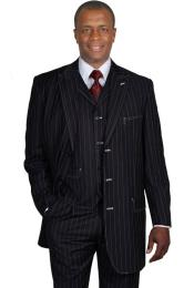 Black Gangster Stripe ~ Pinstripe Vested Urban Men Suits  - Three