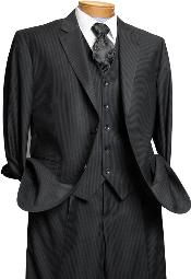 Mens 3 Piece Black On Black Shadow Stripe Tone on Tone Stripe