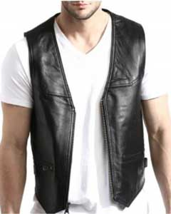 Black Lambskin Leather Zip-Front Vest