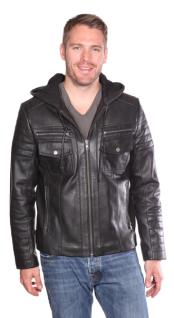Warden Leather Big and Tall Bomber Jacket Black