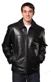 Dean Leather Jacket Black Big and Tall Bomber Jacket
