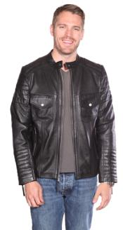 Flynn Leather Quilted Black Big and Tall Bomber Jacket