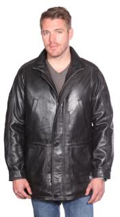 Garner Leather Parka Black Big and Tall Bomber Jacket
