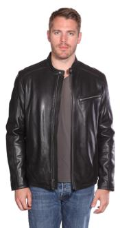 Leather Moto Black Big and Tall Bomber Jacket