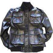 Black safari/military inspired bomber with bellowed pockets & knit collar/cuffs tanners avenue jacket