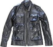 Black Military Genuine Leather Jacket Slim Fit tanners avenue jacket