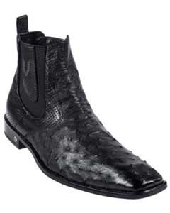 Mens Black Full Quill Ostrich Dressy Boot Ankle Dress Style For