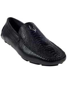 Mens Black Genuine Ostrich Leg Driver Vestigium Driving Shoes slip on loafers for men