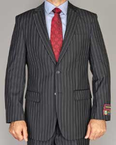 Mens Side Vented Jacket & Flat Front Pants Black Pinstripe Bold