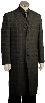 Mens Stylish Black Checked Plaid Windowpane Pinstripe Long Zoot Suit