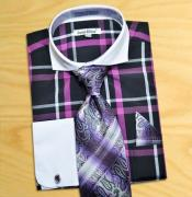 / Purple / White Windowpanes Shirt / Tie / Hanky Set White Collar Two Toned Contrast With