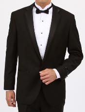 Solid Black Slim Fit 1 Button Tuxedo with Vent  Slim Fit Black Tuxedo - Skinny Fit