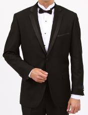 Skinny Solid Black Slim Fit 1 Button Tuxedo with Side Vents  Slim Fit Black Tuxedo -