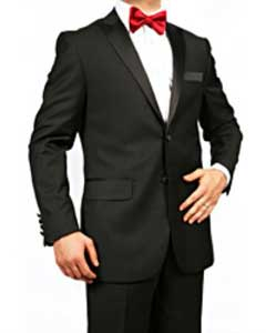 Mens 2 button and  Enclosure Slim fit Tuxedo Black Suit