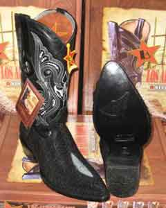 Altos Black Genuine Stingray mantarraya skin Single Stone Western Cowboy Boot