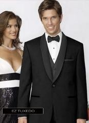 Slim Fitted Traditional Fitc Cut 1 button Black Tuxedo