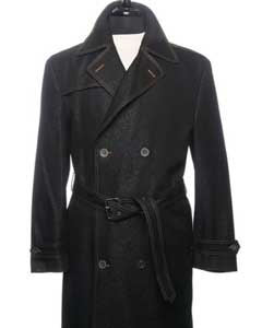 Dress Coat Denim Trench Coat In Black