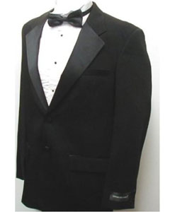 Deal New Mens Fashionable Black Two Button Tuxedo - Five Pieces (5pc)