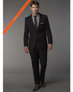 Slim Fitted Cut Black 1/2 button Cheap Priced Business Suits Clearance