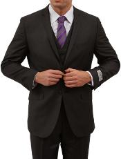 Solid Black 2 Button Front Closure Side Vent Suit
