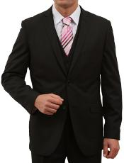 Solid Black 2 Button Front Closure Suit
