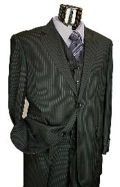 Black Pinstripe 3 Piece 2 Button Italian Designer Suit Flat Front No PleatedPants