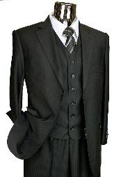 2 Button Designer Black On Black Ton on Ton Shadow Stripe Vested Suit
