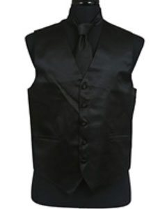 Mens Black Regular Fit Wedding Dress Tuxedo with Vest ~ Waistcoat ~ Waist coat Tie Set