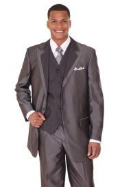 Black Vested Sharkskin Fashion