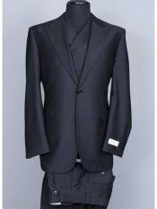 Tiglio Brand 3 Piece Big Peak Lapel Black Suit Vested Wide Leg Pants 1 Button 100% Wool