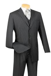 Black Striped Wedding Suit