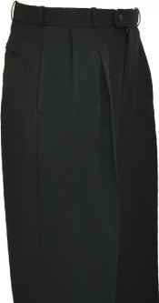 Solid Black Wide Leg Slacks Pleated