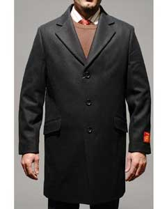 Mens Car Coat Three Quarters Length Mens Dress Coat Black Wool and
