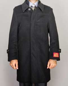 Dress Coat Black Wool/ Cashmere Blend Modern Coat