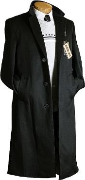 Dress Coat Long Wool Winter Dress Knee length Coat Mens Black