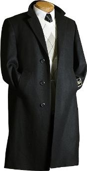 Wool Winter Dress Knee length Coat Mens Dress Coat Black Long Style Wool / Overcoat