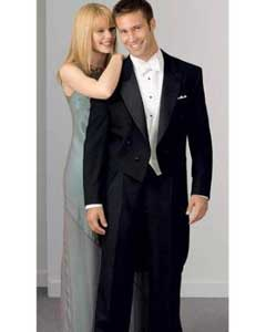 100% Wool Peak Tailcoat Black Tuxedo Jacket with the tail suit