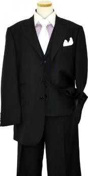 Peak Lapel Three buttons Solid Black Wool Vested Lapeled Vested 3PC Suit Wide leg Pleated pants