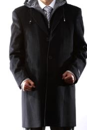 Dress Coat Hooded Wool Winter Overcoat ~ Topcoat Black or Charcoal hooded