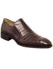 Mens Mezlan Sleek Dark Brown Crocodile Loafer Italian slip on Shoe