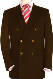 Quality Dark Brown wool fabric Double Breasted Blazer with Peak Lapels