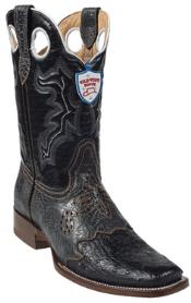 West Black Ostrich Wild Rodeo Toe Boots