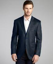 Charles Dark Gray Wool & Cashmere Blend 2 Button Blazer
