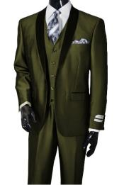 Dark Olive Shawl Lapel Sharkskin Vested 3 Piece Suit Tuxedo
