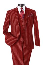 Dark Red & White Pinstripe 2 Button Notch Lapel Vested Suit