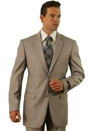 Poly/Rayon Mens Dark Tan ~ Beige Classic Pinstripe ~ Stripe Pattern affordable suit online sale