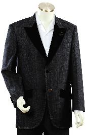 Mens Luxurious Black Zoot Denim Fabric Suit