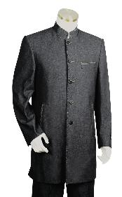 Mens Fashionable 5 Button Black Zoot Denim Fabric Suit